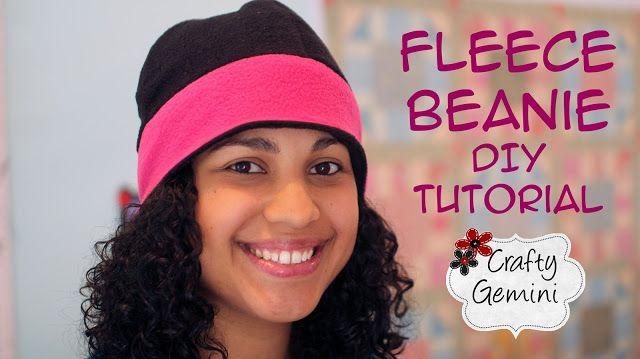 7c7907fa9d9 Crafty Gemini  Reversible Fleece Beanie Hat - DIY Tutorial   Free Pattern
