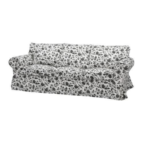 Ikea Ektorp 3 Seat Sofa Slipcover Hovby Black White Floral Accent