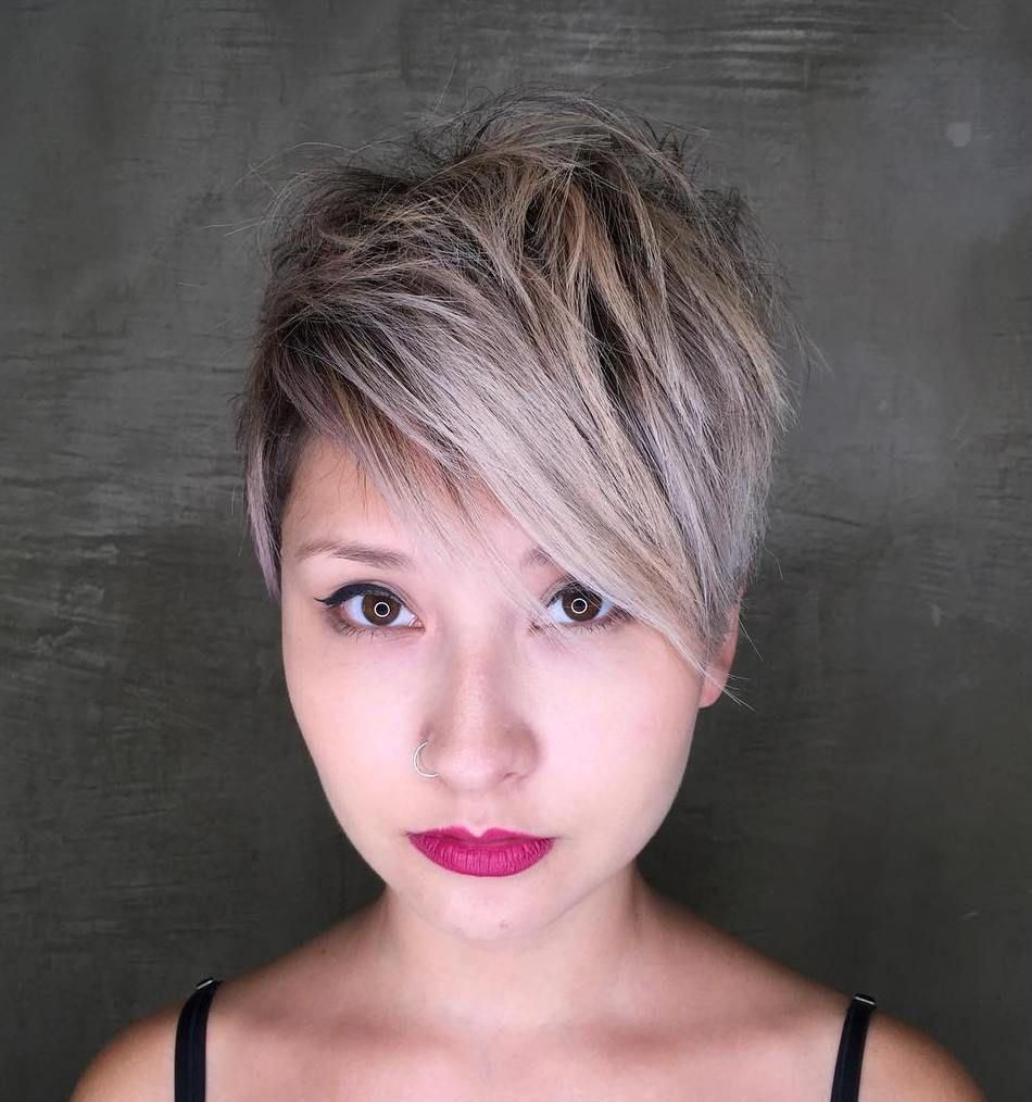 Long Shaggy Pixie with Shiny Balayage hair color for an