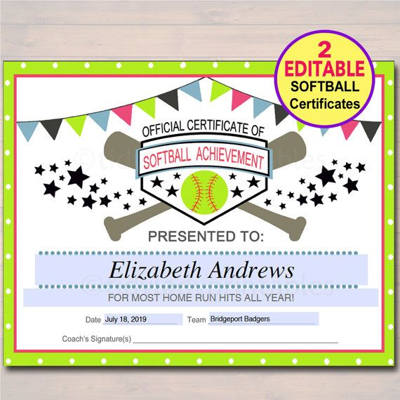 EDITABLE Softball Certificates INSTANT DOWNLOAD Award Printable Girls Team Participation Awards Sports