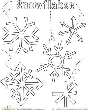 Snowflake Worksheet Education Com Snowflake Coloring Pages Preschool Winter Worksheets Paper Snowflake Template