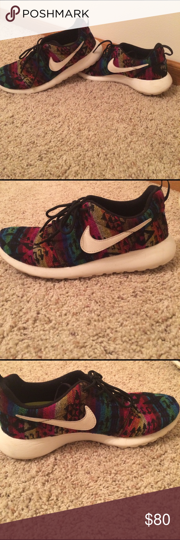 Nike Roshe Tennis Shoes Custom Tribal Print Nike Roshe Running Shoes. Size 8.5. Have some scuffs but overall in working condition. Open to offers! Nike Shoes Athletic Shoes