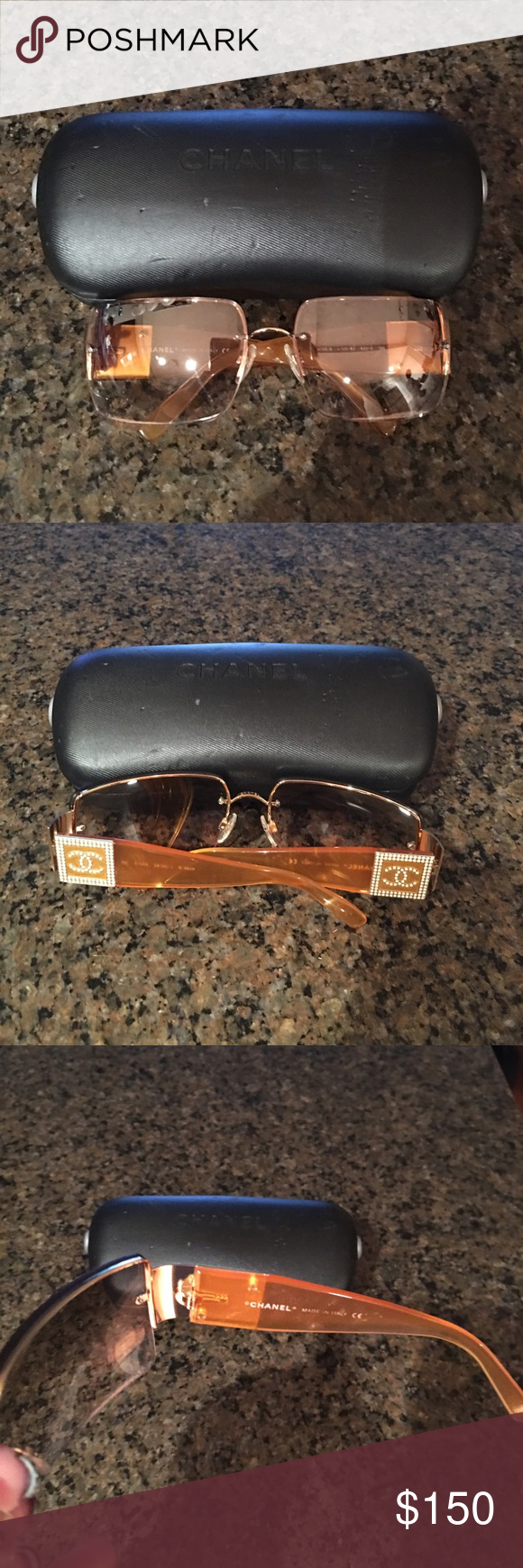 Chanel Sunglasses Authentic.  Used.  Chanel sunglasses in orange with jeweled detail accents. Chanel Accessories Sunglasses