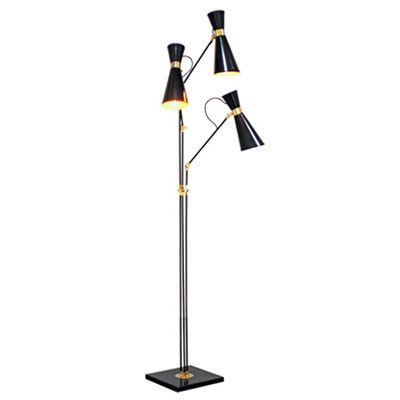 Three Head Black And Br Lisbon Floor Lamp