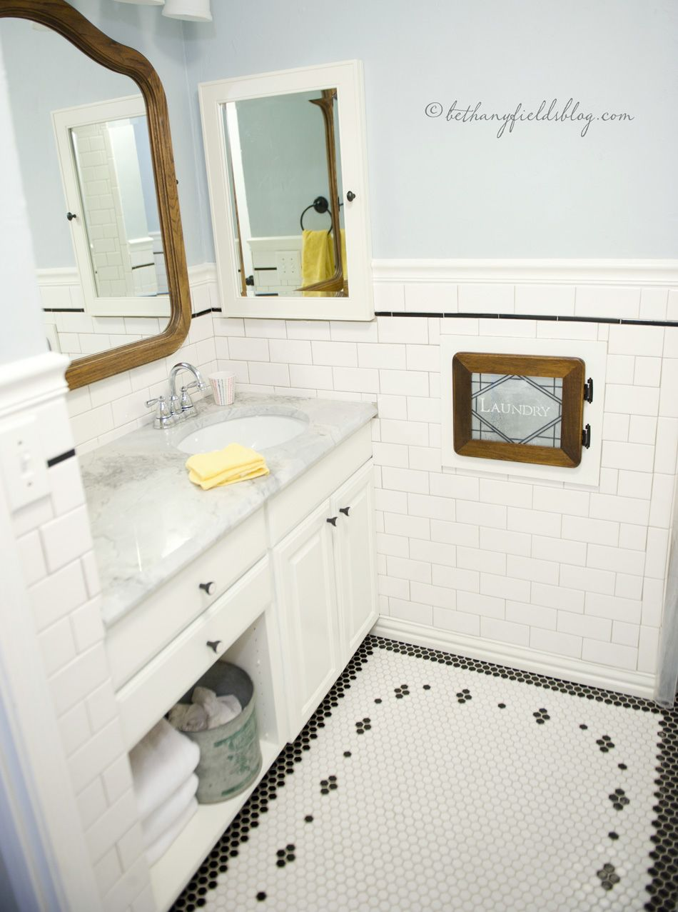 Hex And Subway Tile Diy Bathroom Bathroom Floor Tiles