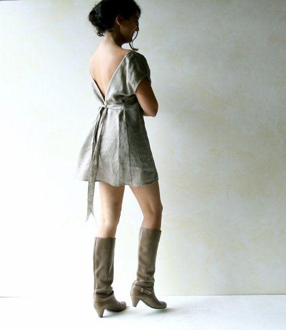 Linen Tunic Long Top Tunic Top Open Back Top Boho top by LoreTree