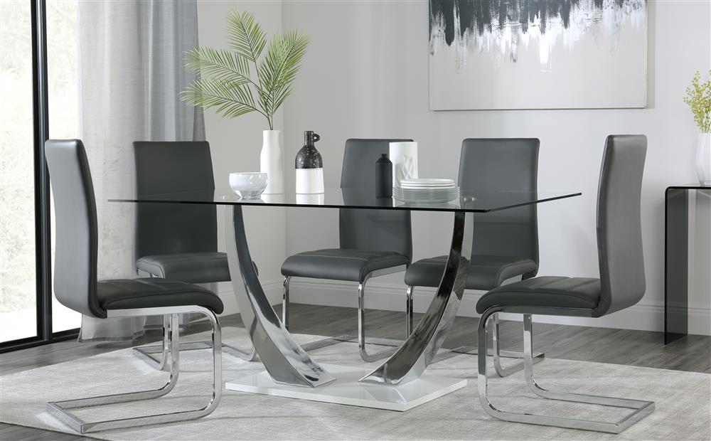 Peake Glass and Chrome Dining Table (White Gloss Base