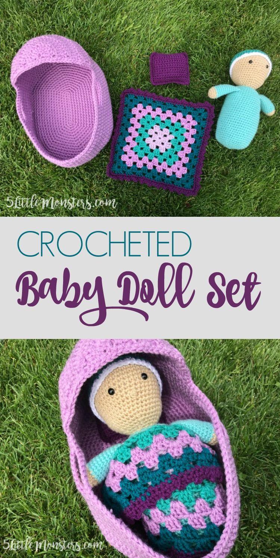 Crocheted Baby Doll Set Baby doll set, Crochet dolls
