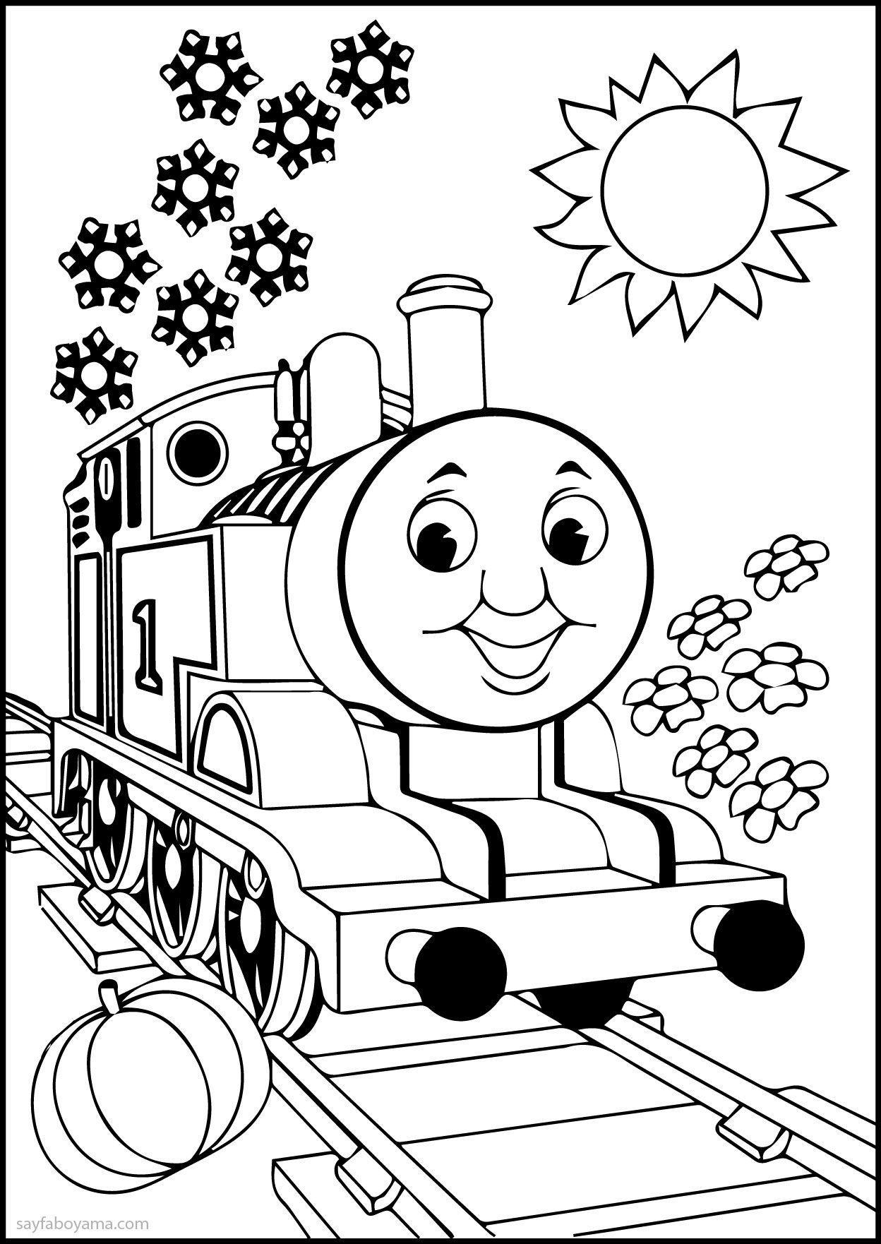Thomas Ve Arkadaşları çiçekli Ve Güneşli Sayfa Boyama Bebek