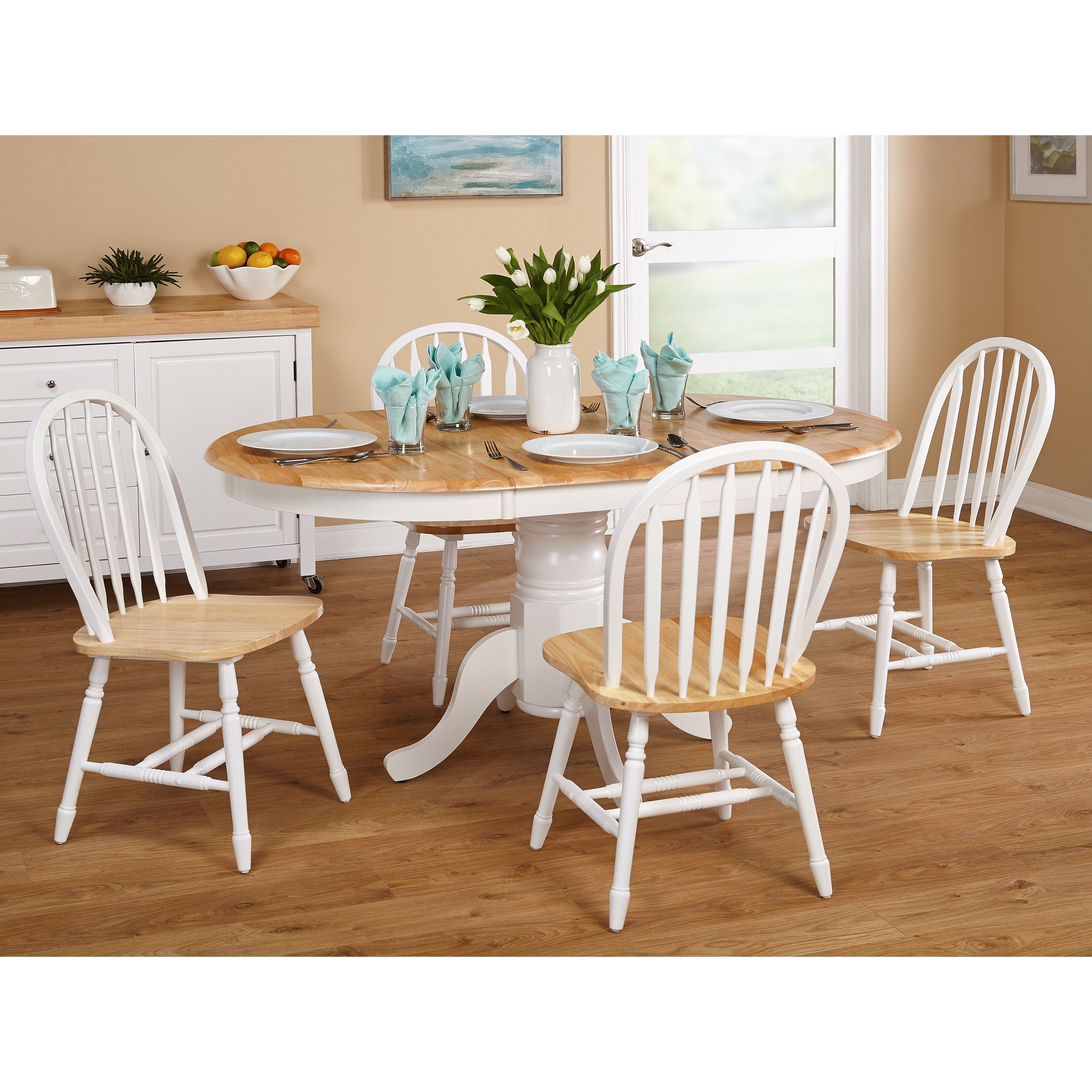 Best Simple Living Farmhouse 5 Or 7 Piece White Natural Dining 640 x 480