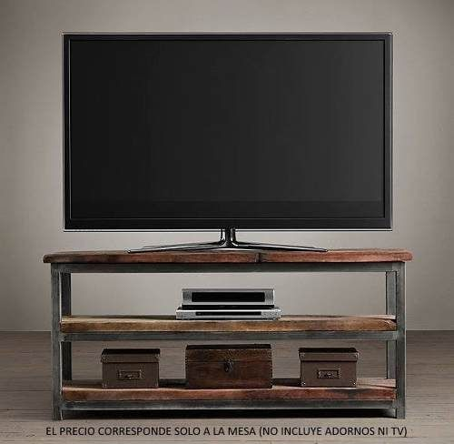 Mesa mueble tv rack hierro madera dressoire estanteria for Decoracion mueble tv