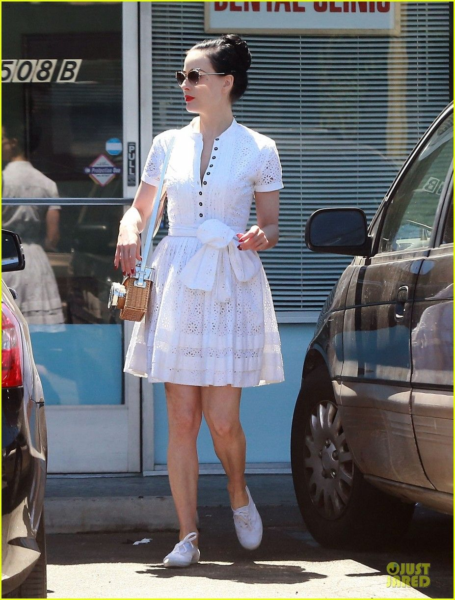 654d0c2a749b Dita Von Teese Knows How to Wear Summer White For Lunch  Photo  3154382. Dita  Von Teese dons a little white dress while grabbing lunch at Alegria of  Sunset ...