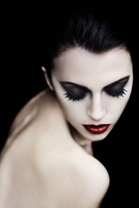 Pale makeup, black eyeshadow, red lipstick #eyes #lips modern goth, Victorian, grunge