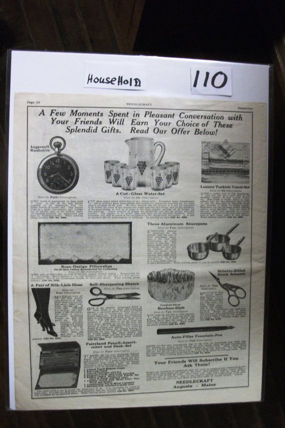 "House - 110    ""Needlecraft Magazine 'Offer'""  Ad  -   September  1923"