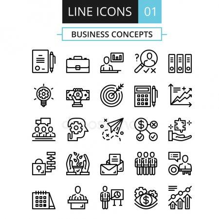 Thin Line Icons Set Flat Design Concept For Business Digital Marketing Team Management Business Presentation Corporate Strategy Progress Vector Icons Set