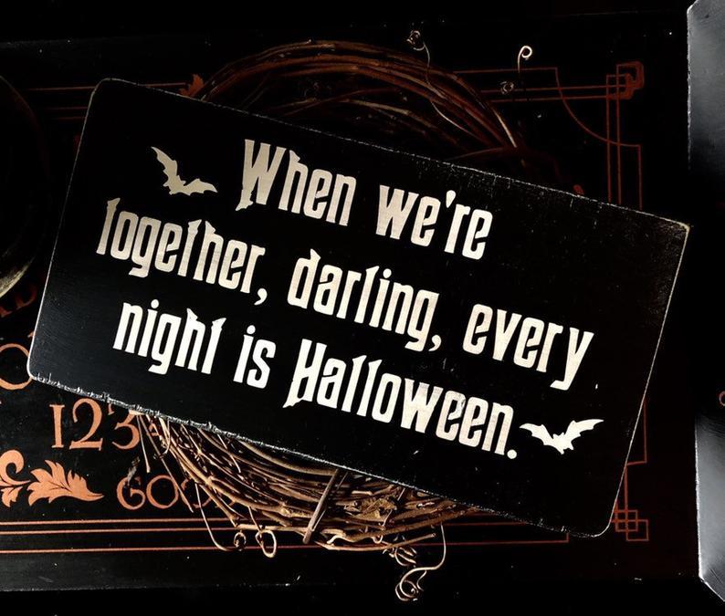 Morticia and Gomez Plaque, Halloween, Love, Goth, Wedding