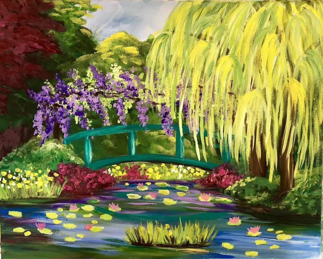Thesocialeasel Posted To Instagram Paint Monet S Garden Online Step By Step Instructions Watch Anytime 24 7 P Canvas Painting Diy Basic Painting Painting
