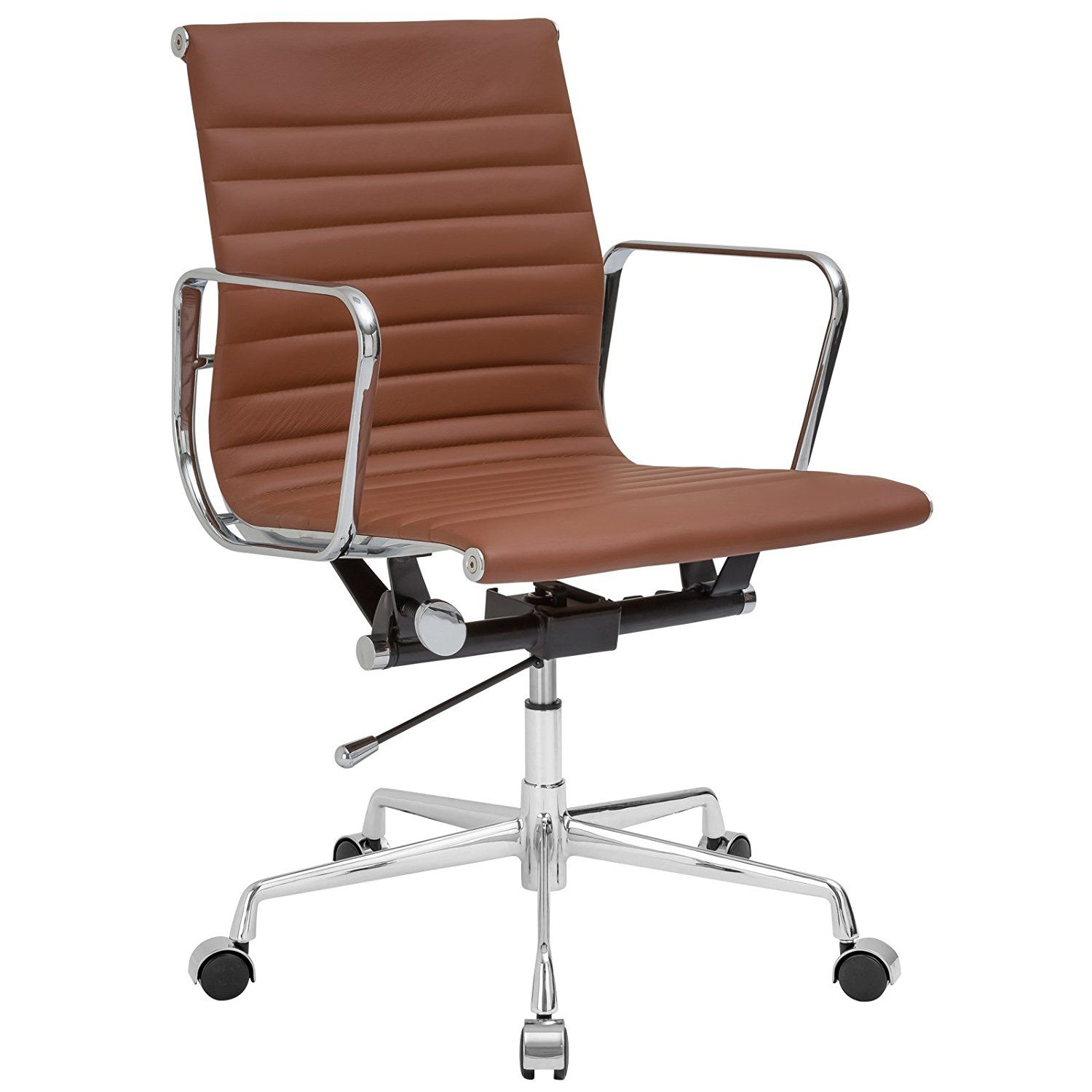 amazoncom poly and bark ribbed office chair with italian leather terracotta
