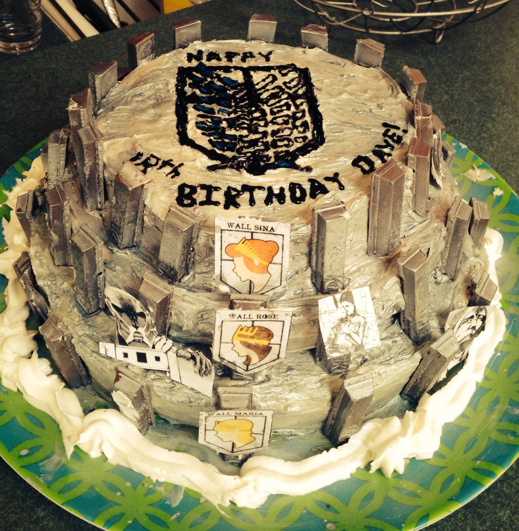 Attack on Titan Cake... Is that a tiny picture of Marco on