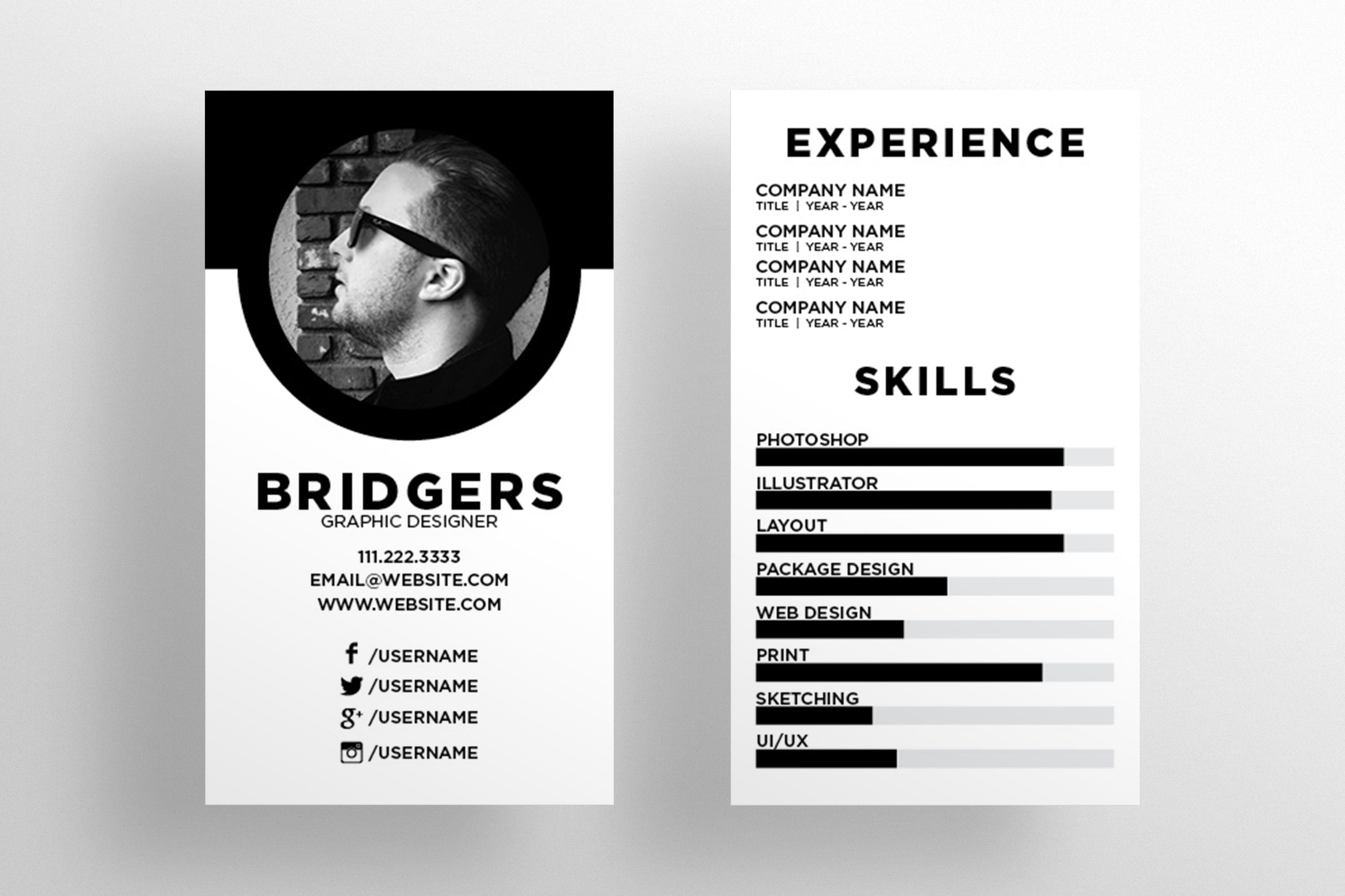 The Resume - Business Card Template by SOCALARTS on Creative Market ...