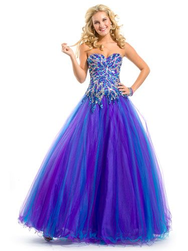 14 Stunning Strapless Prom Dresses | Bright purple and Corset