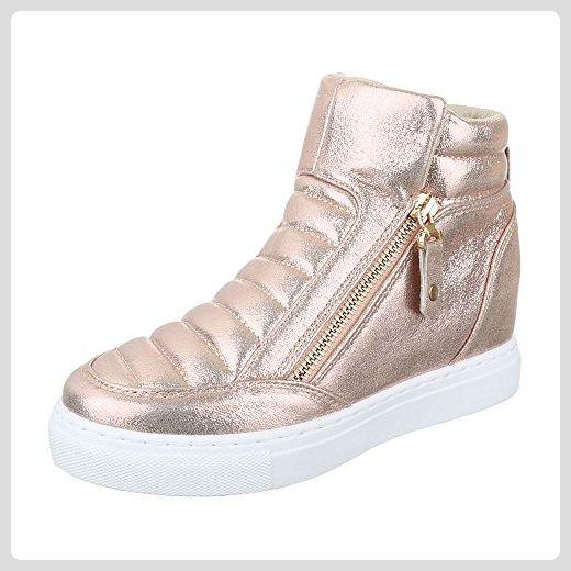 High-Top Sneaker Damen-Schuhe High-Top Keilabsatz  Wedge Wedges  Reißverschluss Ital ad03a1c2b4