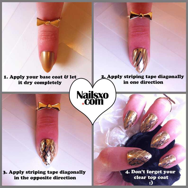 Easy step by step gold striping tape nail art tutorial criss cross easy striping tape nail art tutorial taken from my yummy ice cream nails last week d prinsesfo Choice Image