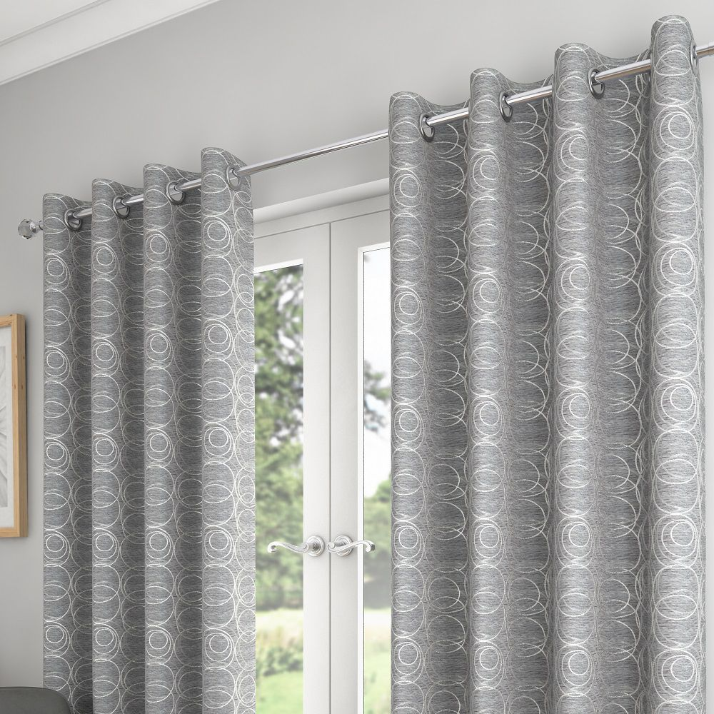 Saturn Fully Lined Eyelet Curtains Silver Grey House Interior Living Room Decor Curtains