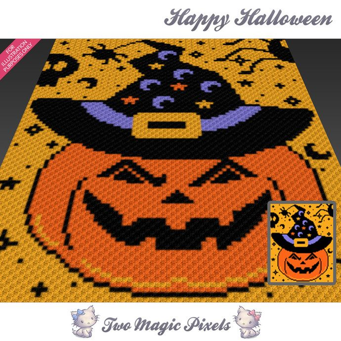 Happy Halloween crochet blanket pattern; c2c, cross stitch; graph ...