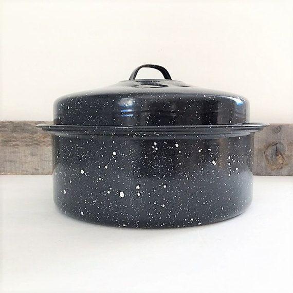 Vintage Black Speckled Enamelware Pot With Lid By Tazamarazvintage Enamelware Vintage Kitchen Vintage