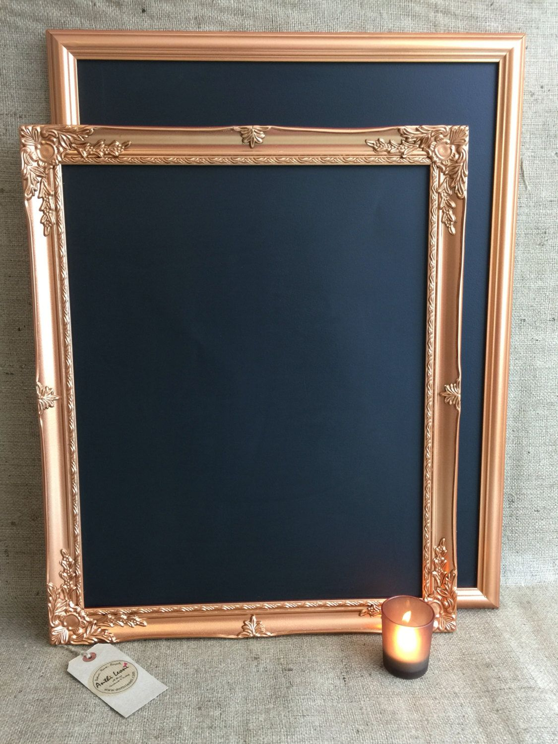 Large COPPER / ROSE GOLD Chalk Board - Copper Blackboard / Framed ...