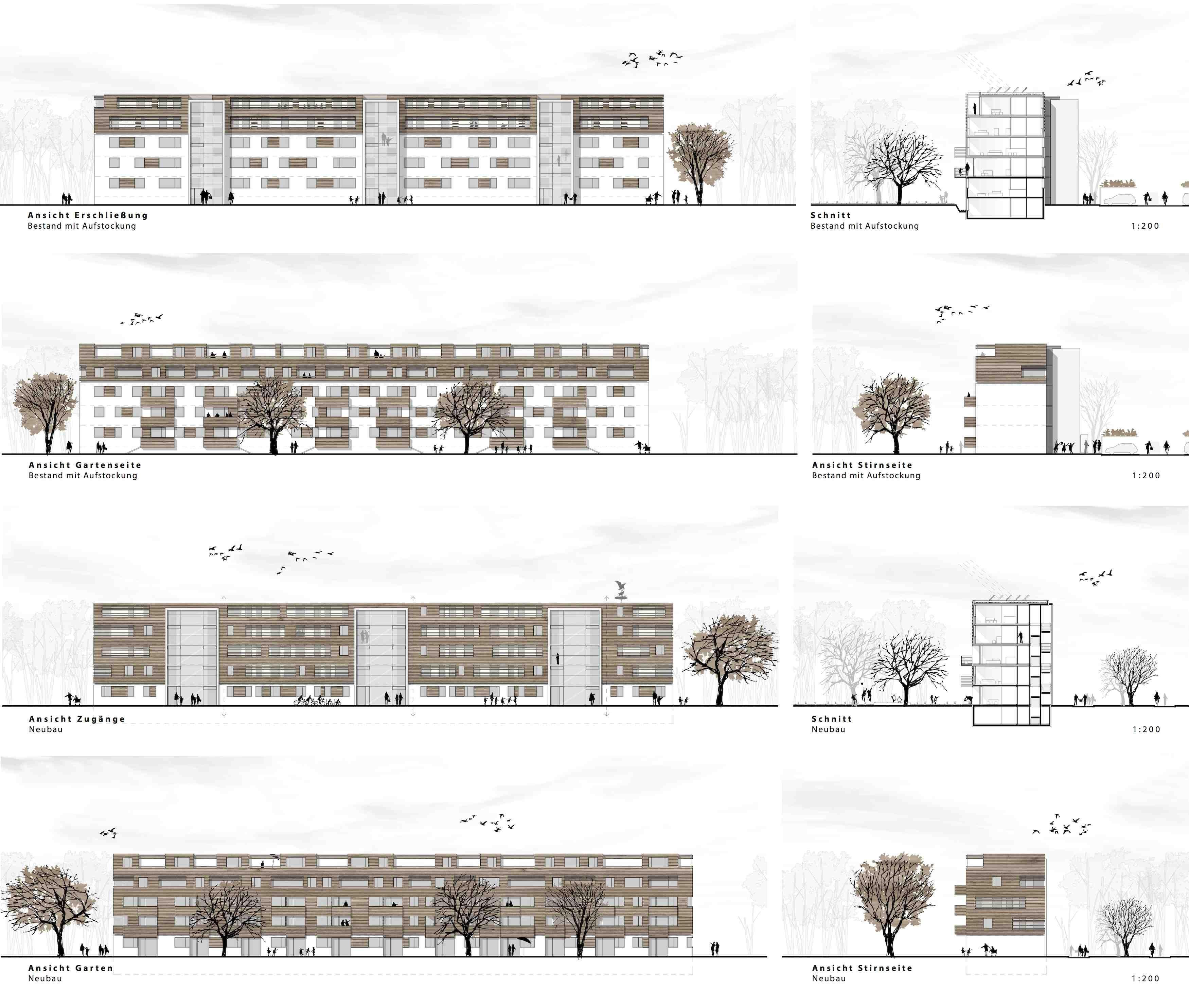 1 preis ansichten aufstockung bestand neubau d rschinger architekten layouts