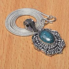 Unique Jewelry - BLUE TURQUOISE GEMSTONE PENDANT WITH CHAIN 925 STERLING SILVER PLATED JEWELRY