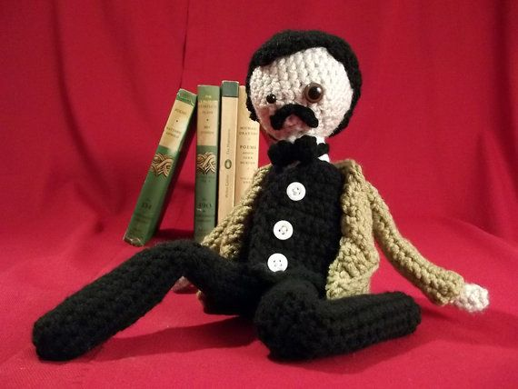Pattern for Edgar Allan Poe Amigurumi with Raven #crochetformoney
