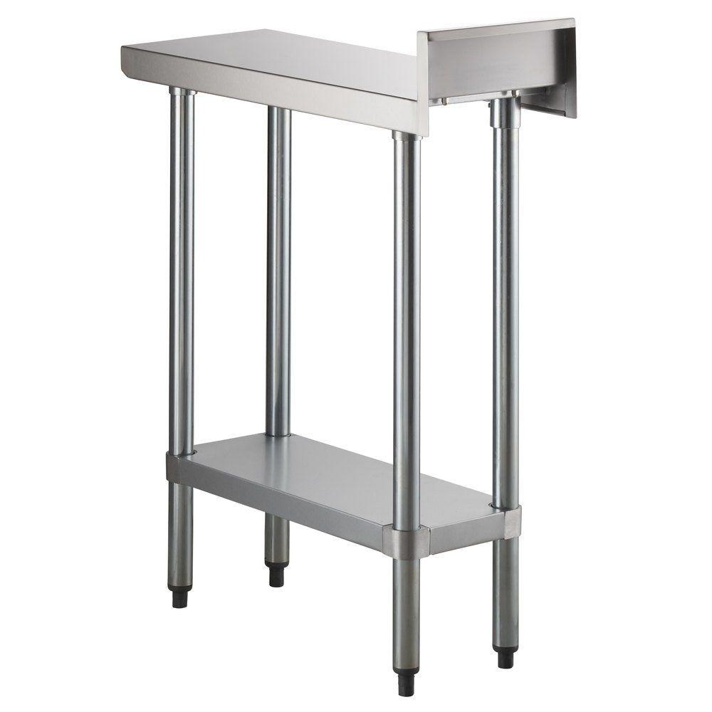 Regency 30 X 12 18 Gauge 304 Stainless Steel Equipment Filler Table With Backsplash And Galvanized Undershelf In 2020 Backsplash Stainless Steel Galvanized