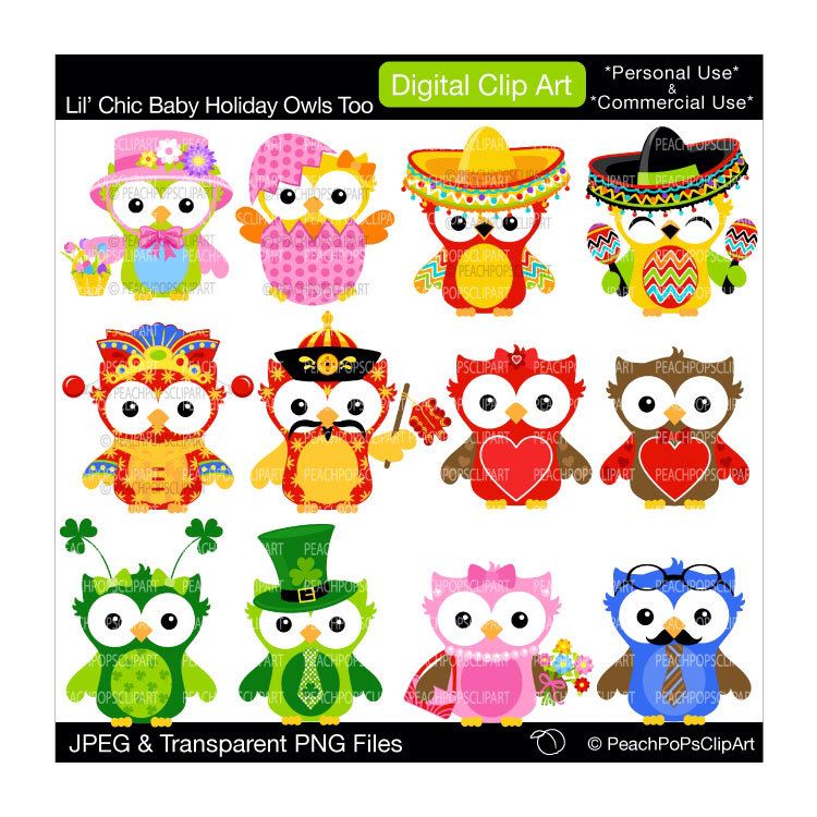 buy 2 get 1 free sale cute owls clip art digital clipart new year easter lil chic baby holiday owls too digital clip art by peachpopsclipart on etsy
