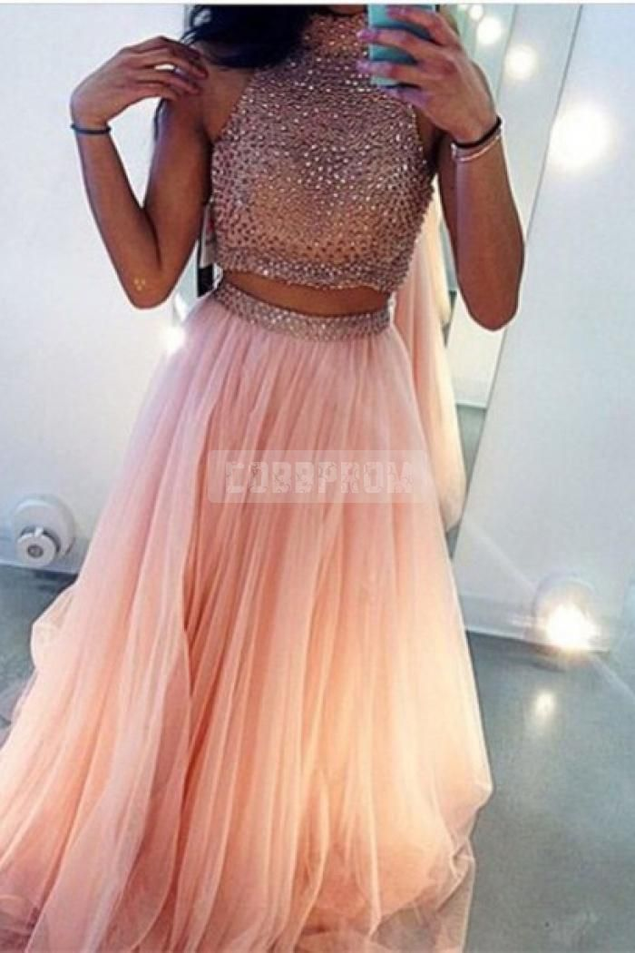 Halter Open Back Beading Bodice Split Skirt Prom Dress   DREAM ...