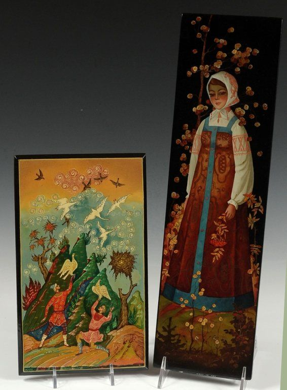 TWO RUSSIAN LACQUER BOXES, FEDOSKINO, MSTERA. Two pieces, Fedoskino 'Autumn,' and Mstera 'Fairy Tale.