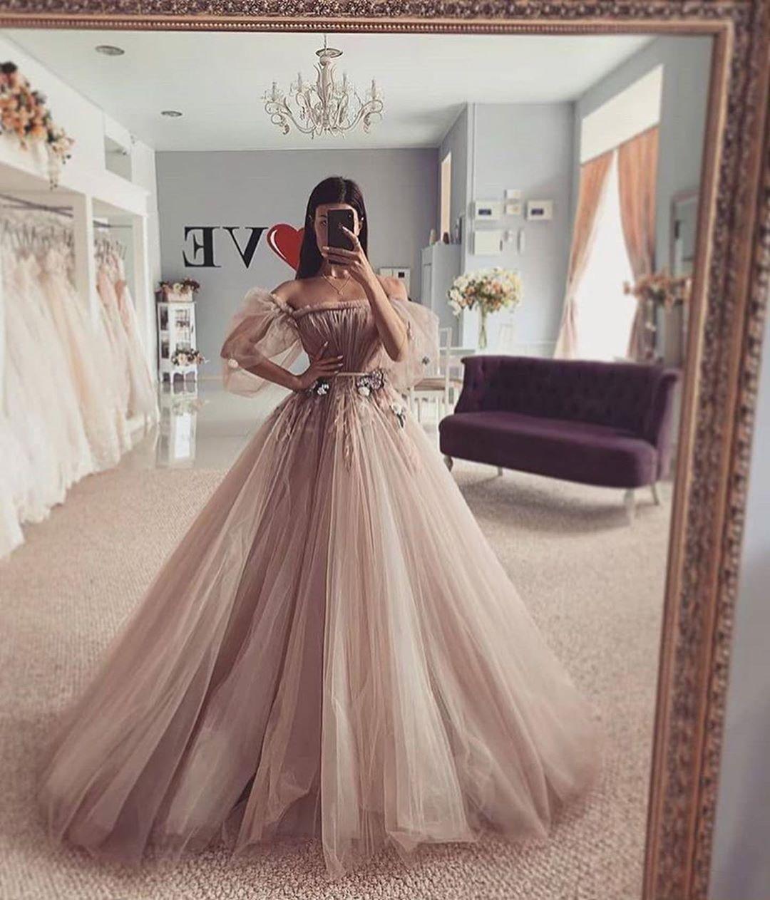 Grey Off Shoulder Wedding Dress Appliques Flowers