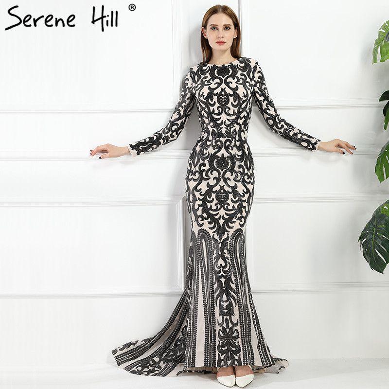 Jahrgang Langarm-muslimischen Luxus Meerjungfrau Abendkleid Perlen ...