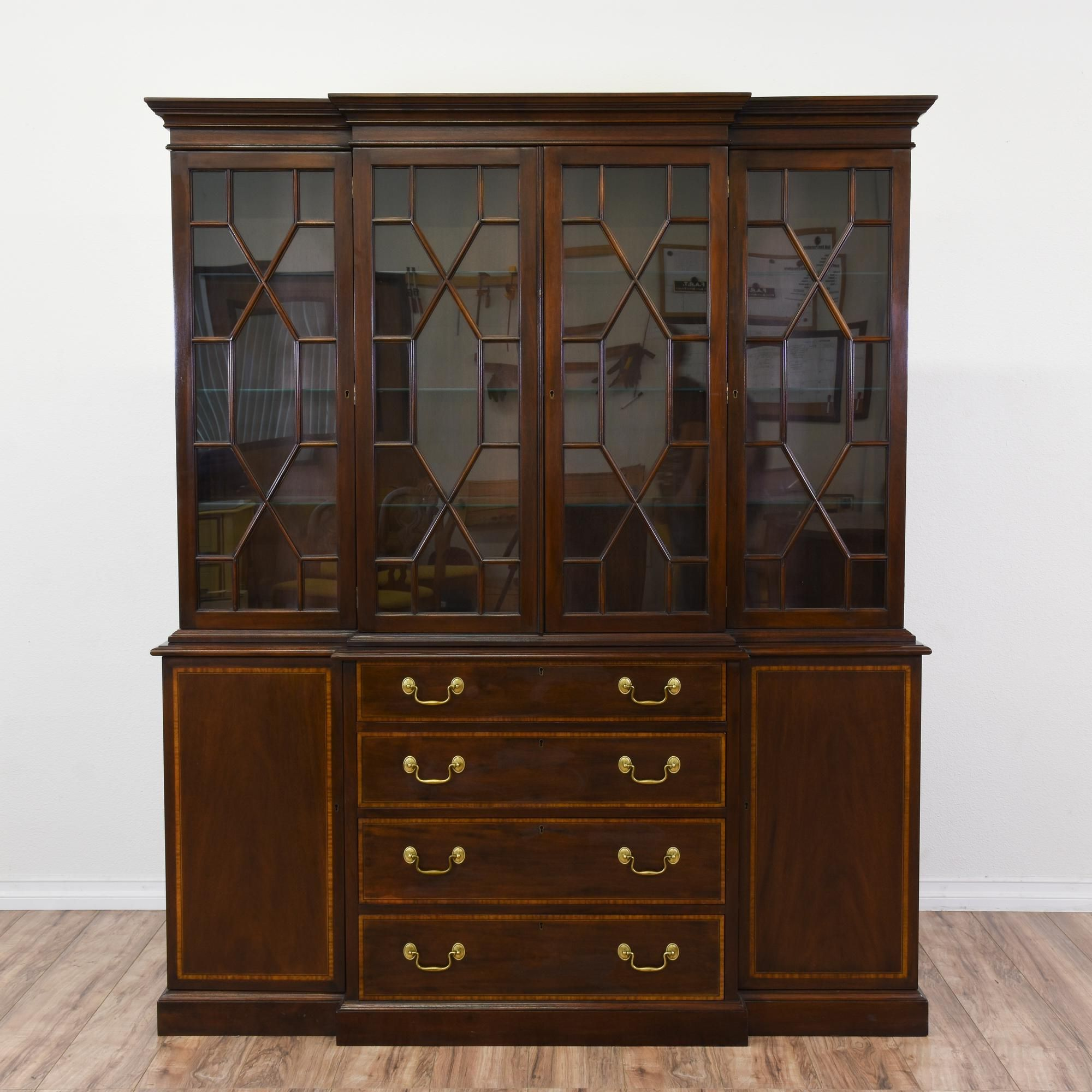 Gorgeous Large Mahogany China Cabinet At 65 Feet Tall This Has Storage For All Your Dining Room Needs And More Including 4 Drawers Two