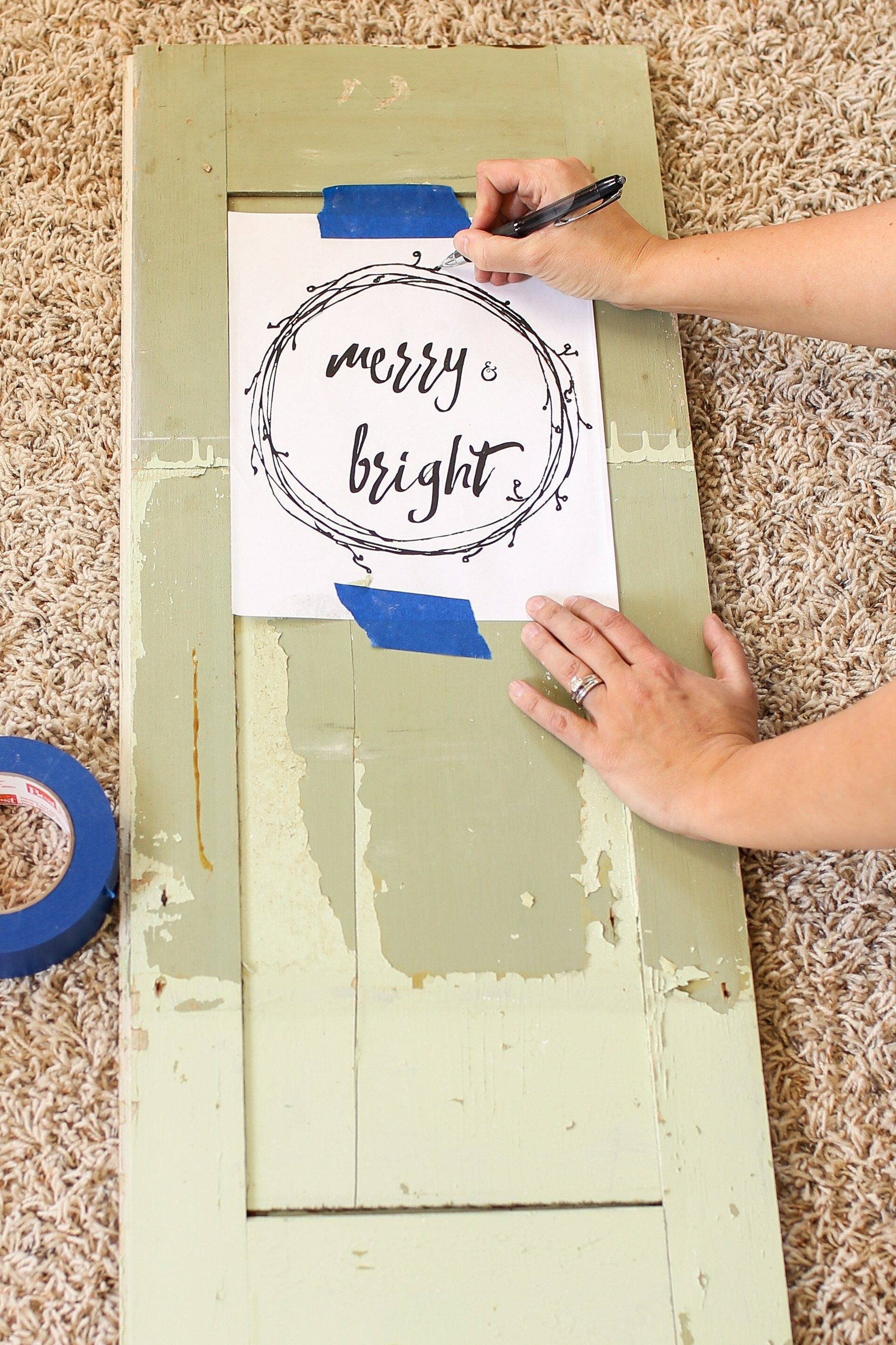 Merry and bright christmas door an easy trick for hand lettering on