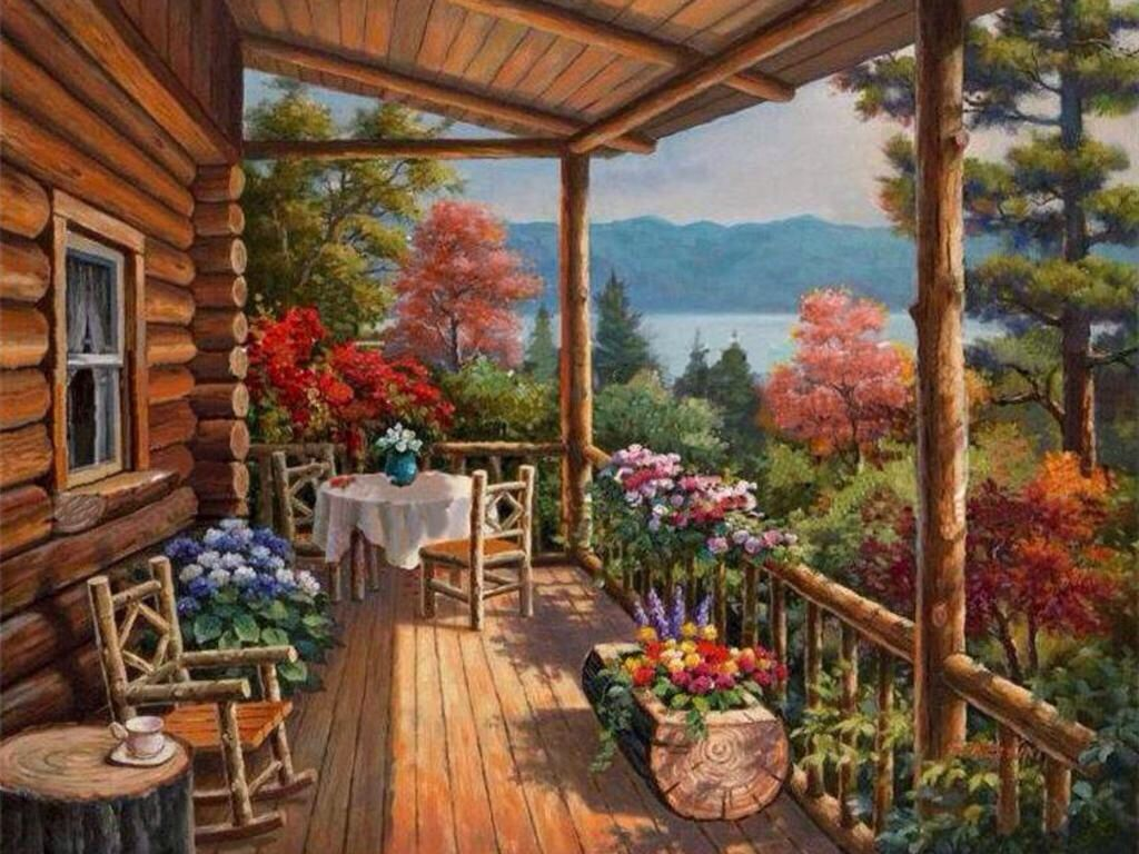 I Want A Cabin In The Woods With A Lake View Painting Art Outdoor