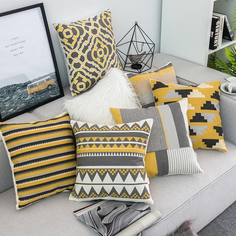 Yellow Grey Stitched Pillow Cases Cushions On Sofa Living Room Cushions Grey And Yellow Living Room