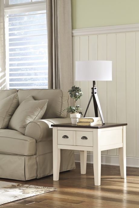 Whitesburg collection brown and white vintage casual style end table