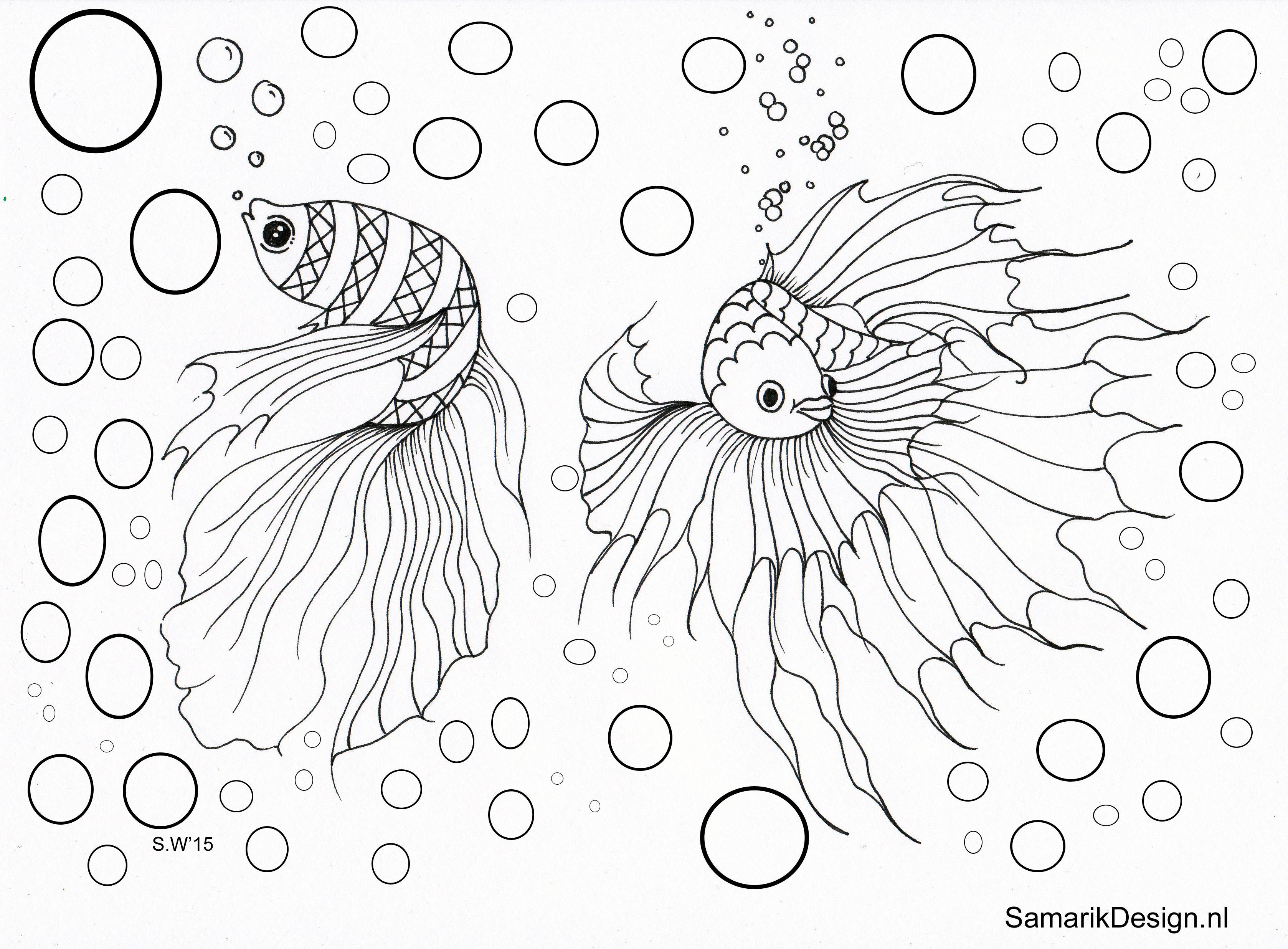 Kleurplaat voor volwassenen. Fish | volwassenen kleurplaat | Pinterest