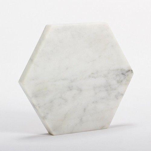 White Marble Trivet Hexagon White Marble Marble American Design