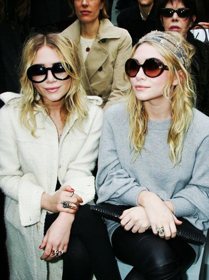Mary Kate and Ashley Olsen Celebrity Looks - 2008 Attending a Chanel runway show in Paris