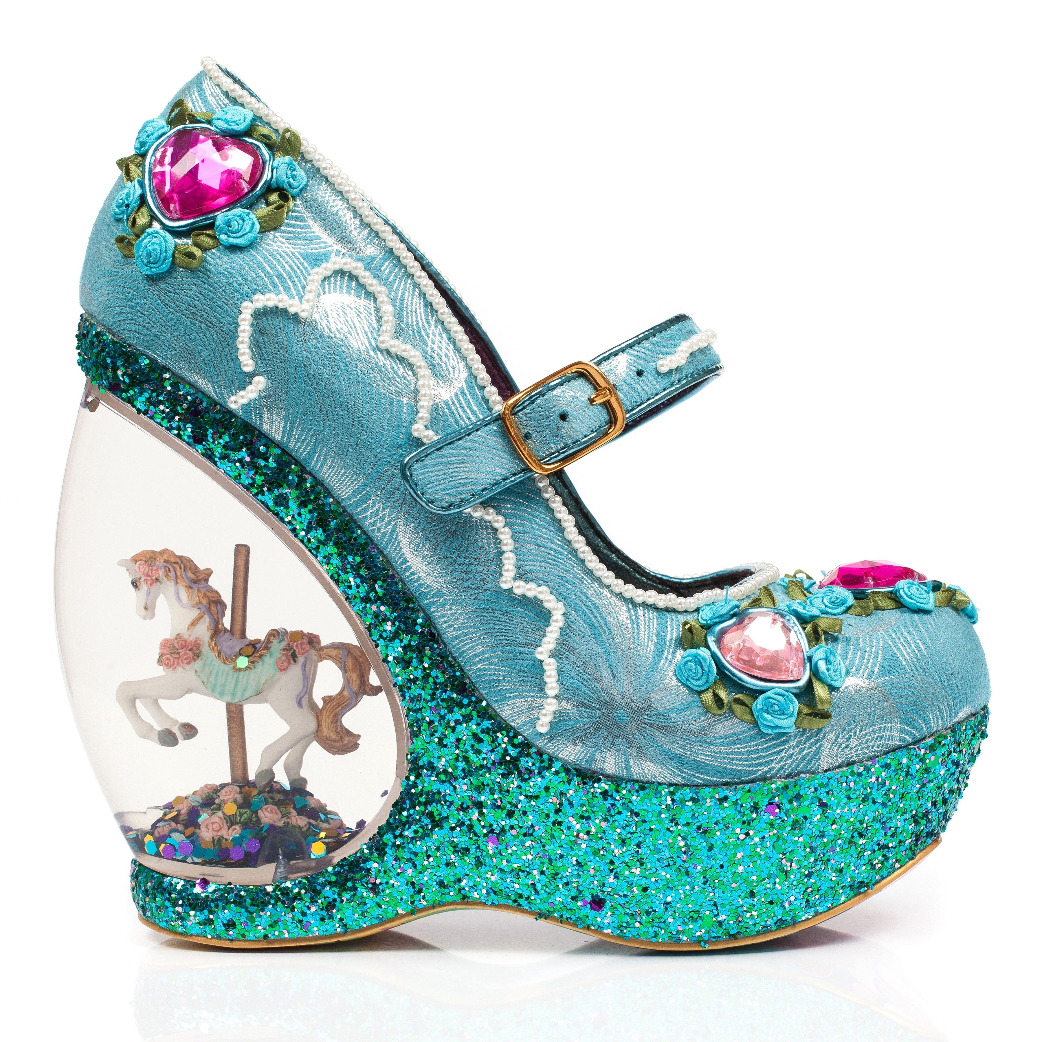0811586f71d2 Romance your feet in these outstanding snow globe carousel horse wedges and  come out smelling of roses. A beautiful embellished upper comes adorned  with ...