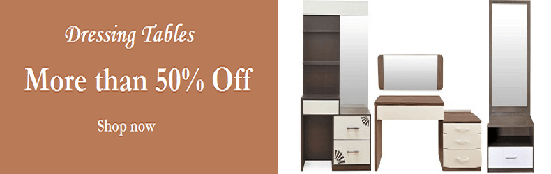 More than 50% Off on dressing tables at Flipkart. Visit http://www.dealmonitor.in/2016/01/flipkart-dressing-table-coupons-50-off.html to know more about the offer.